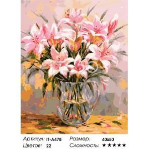 Розовые лилии Раскраска ( картина ) по номерам на холсте Iteso