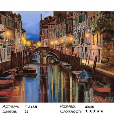 Количество цветов и сложность Венеция (художник Guido Borelli) Раскраска по номерам акриловыми красками на холсте Iteso