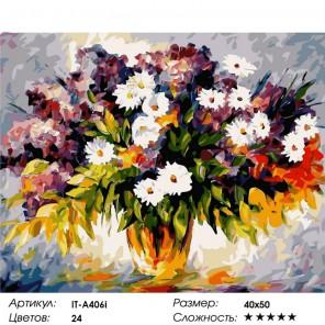 Ромашки и ветка сирени Раскраска (картина) по номерам на холсте Iteso