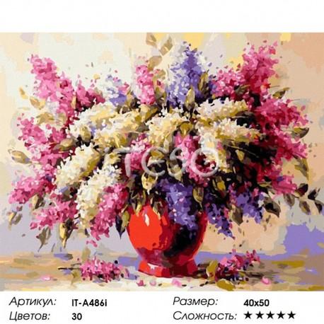 Количество цветов и сложность Сирень Раскраска ( картина ) по номерам акриловыми красками на холсте Iteso