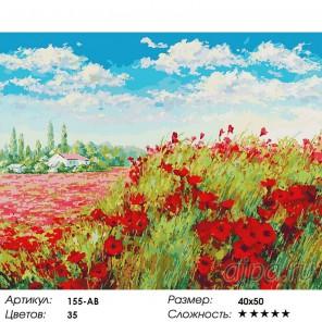 Маковое поле Раскраска ( картина ) по номерам акриловыми красками на холсте Белоснежка