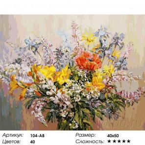 Количество цветов и сложность Летний букет Раскраска картина по номерам акриловыми красками на холсте Белоснежка