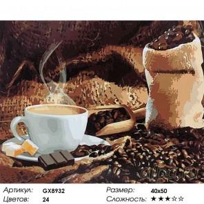 Количество цветов и сложность Аромат кофе Раскраска картина по номерам акриловыми красками на холсте