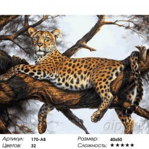 Леопард на отдыхе Раскраска картина по номерам акриловыми красками на холсте Белоснежка