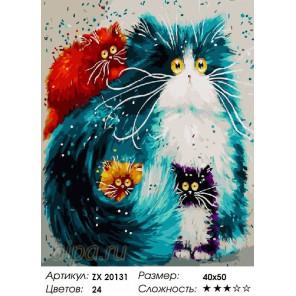 Количество цветов и сложность Пять оттенков кошек Раскраска картина по номерам акриловыми красками на холсте