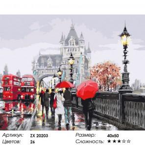 Количество цветов и сложность Дождливый Лондон Раскраска картина по номерам акриловыми красками на холсте