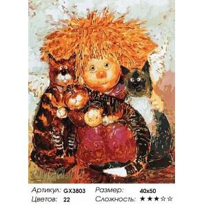 Солнечный ангел с котятами Раскраска картина по номерам на холсте