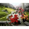 Букет на окне Раскраска картина по номерам акриловыми красками на холсте