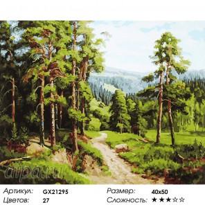 Количество цветов и сложность Тропинка в сосновом бору Раскраска картина по номерам акриловыми красками на холсте