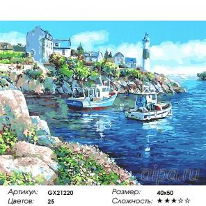 Количество цветов и сложность Два катера у маяка Раскраска картина по номерам акриловыми красками на холсте