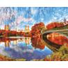 Мост в осеннем городе Раскраска картина по номерам акриловыми красками на холсте