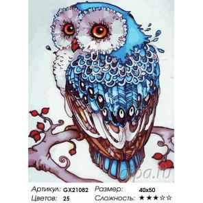 Количество цветов и сложность Совушка счастья Раскраска картина по номерам акриловыми красками на холсте