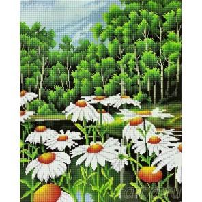 Ромашки у реки Алмазная мозаика вышивка на подрамнике Painting Diamond