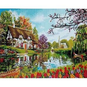 Тюльпаны у озера Алмазная мозаика вышивка на подрамнике Painting Diamond