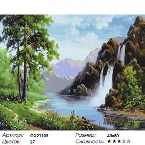 Водопад в горах Кавказа Раскраска картина по номерам на холсте