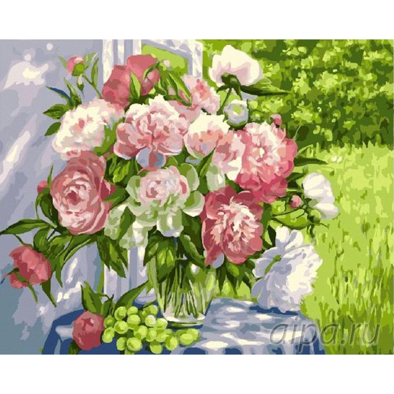 Раскраска по номерам Натюрморт с букетом пионов картина ...