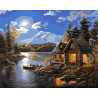 Дом у реки (художник Джуди Гибсон) Раскраска картина по номерам акриловыми красками на холсте