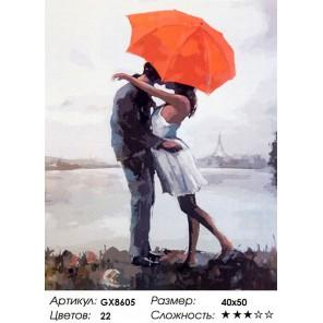 Поцелуй под зонтом Раскраска картина по номерам акриловыми красками на холсте
