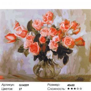 Количество цветов и сложность Чайные розы Раскраска картина по номерам акриловыми красками на холсте