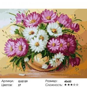 Количество цветов и сложность Вазочка хризантем Раскраска картина по номерам акриловыми красками на холсте