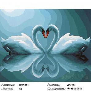 Лебединая любовь Раскраска картина по номерам на холсте