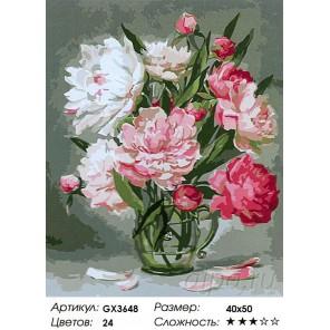 Количество цветов и сложность Пышные пионы на столе Раскраска картина по номерам акриловыми красками на холсте
