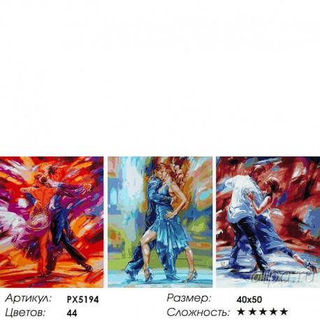 Количество цветов и сложность Танго Триптих Раскраска картина по номерам акриловыми красками на холсте
