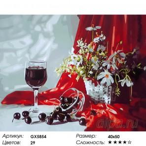Количество цветов и сложность Бокал десертного вина Раскраска картина по номерам акриловыми красками на холсте