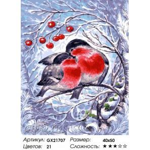 Количество цветов и сложность Снегири на ветке Раскраска картина по номерам акриловыми красками на холсте