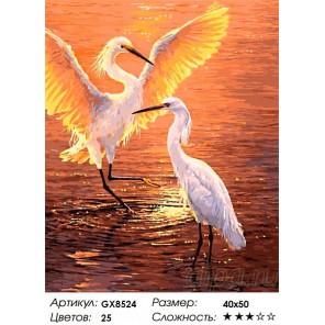 Количество цветов и сложность Журавли на закате Раскраска картина по номерам акриловыми красками на холсте