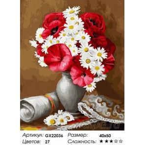 Количество цветов и сложность Красно-белый букет Раскраска картина по номерам акриловыми красками на холсте