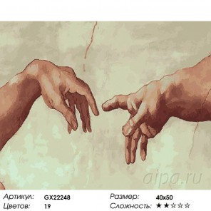 Количество цветов и сложность Сотворение Адама Раскраска картина по номерам акриловыми красками на холсте