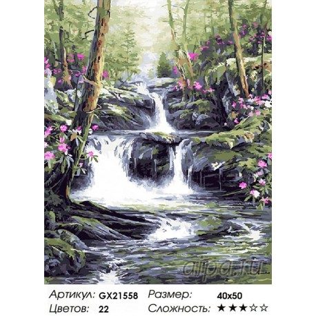 Количество цветов и сложность Лесной каскад Раскраска картина по номерам акриловыми красками на холсте