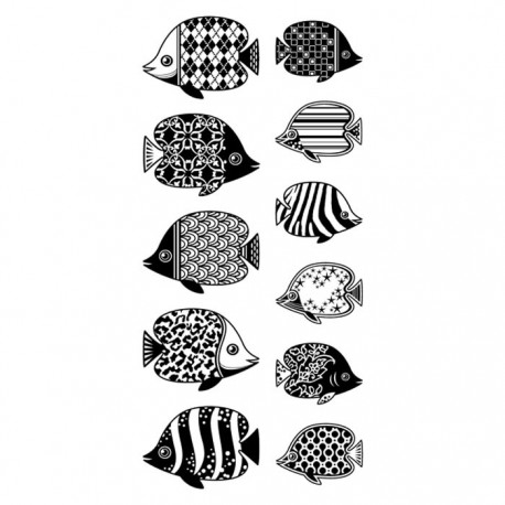 Рыбки узорчатые Штампы прозрачные Набор для скрапбукинга, кардмейкинга Inkadinkado