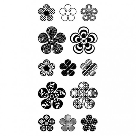 Цветы узорчатые Штампы прозрачные Набор для скрапбукинга, кардмейкинга Inkadinkado