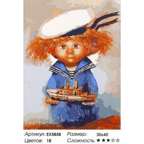 Домовёнок-морячок Раскраска картина по номерам на холсте