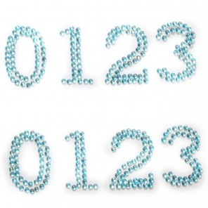 0123 голубые цифры Набор самоклеющихся страз Glorex