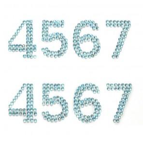 4567 голубые цифры Набор самоклеющихся страз Glorex