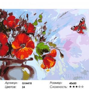 Маки и бабочка Раскраска картина по номерам на холсте