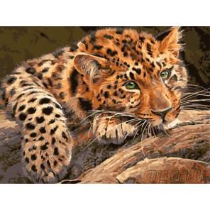 Задумчивый леопард Раскраска картина по номерам акриловыми красками на холсте