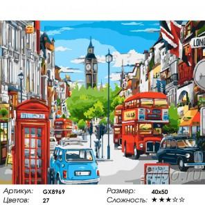 Лондонская улица в ярких красках Раскраска картина по номерам акриловыми красками на холсте