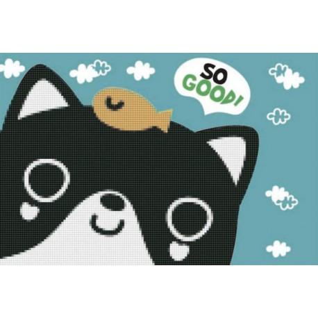 Котик с рыбкой Алмазная частичная мозаика с рамкой