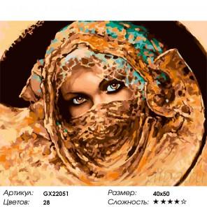 Взгляд восточной красавицы Раскраска картина по номерам на холсте