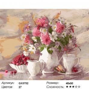 Количество цветов и сложность Натюрморт с цветами и фарфором Раскраска картина по номерам акриловыми красками на холсте