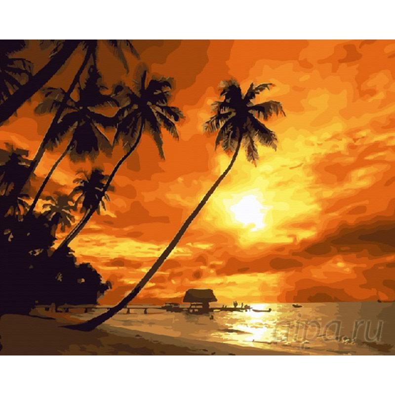 Раскраска по номерам Южный закат картина 40х50 см на ...