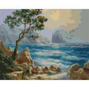 Голубая волна Раскраска картина по номерам акриловыми красками на холсте