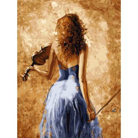 Девушка со скрипкой Раскраска картина по номерам акриловыми красками на холсте
