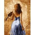 Девушка со скрипкой Раскраска картина по номерам на холсте