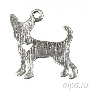 Собака с сердечком Подвеска металлическая для скрапбукинга, кардмейкинга
