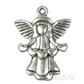 Ангел с гирляндой из сердец Подвеска металлическая для скрапбукинга, кардмейкинга
